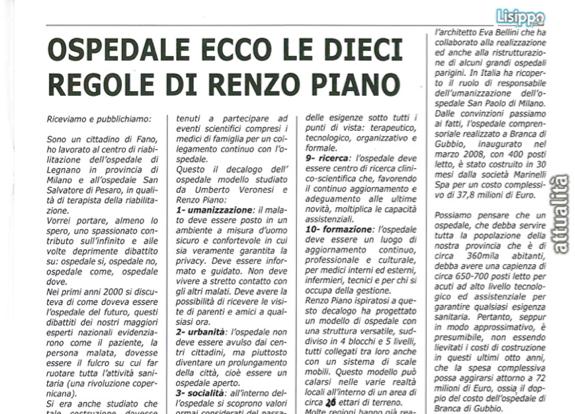 """La sanità a Fano: l'articolo citato dal gruppo di lavoro di """"Foro Urbano"""""""